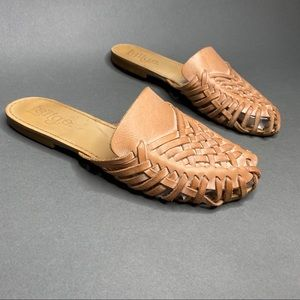 Anthropologie Latigo Mica Cognac Tan Sandal Slides